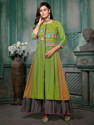 Velik Green Rayon Printed Fancy Gown Kurti