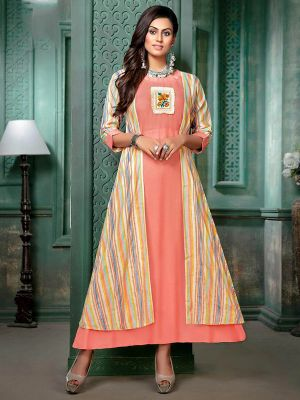 Velik Peach Rayon Printed Gown Kurti with Fancy Shrug