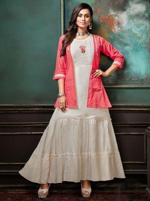 White Cotton Printed Kurti with Fancy Light Pink Jacket