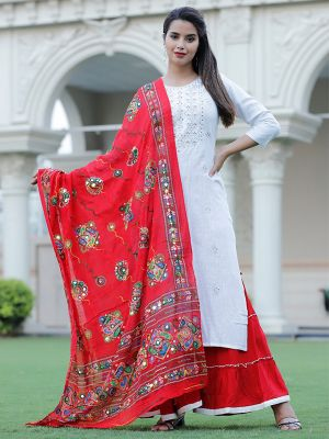White Rayon Embroidered  Kurta With Red Dupatta & Palazzo