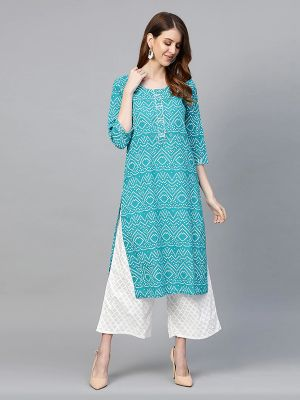 Women Turquoise Blue & White Bandhani Print Kurta with Palazzos
