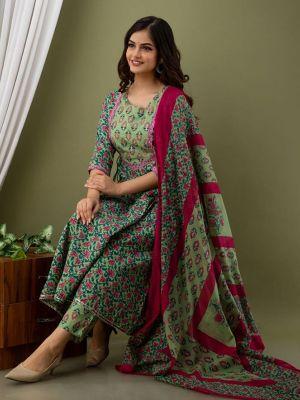 Women's Multicolor Printed Rayon Kurti With Pant & Dupatta Set