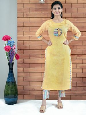 Yellow Daily Wear Rayon Embroidered Kurti With Pant
